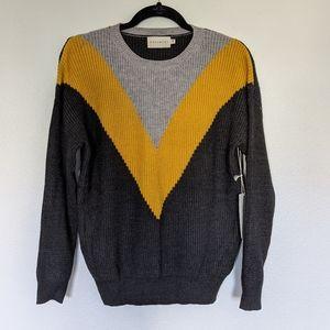 Dreamers Sweater Crewneck Knit Chevron Pattern